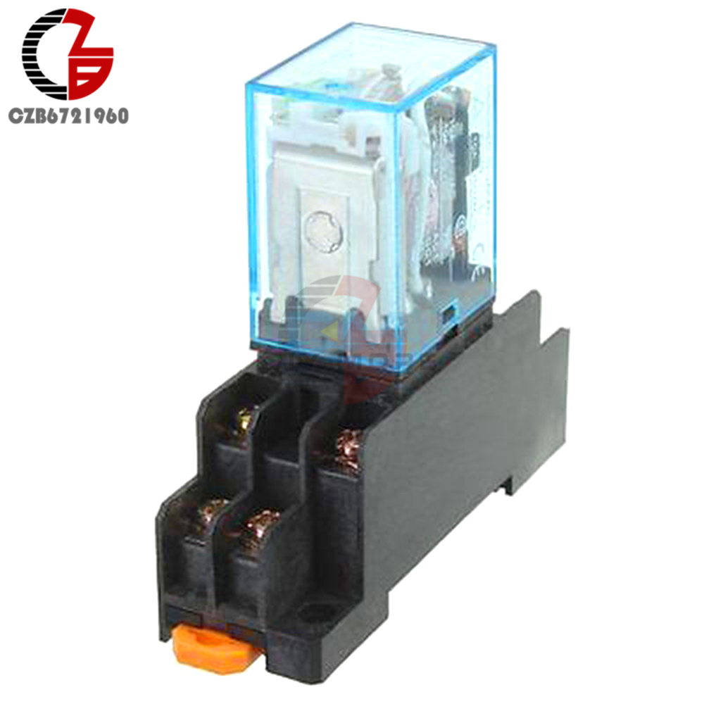 Coil Power Relay 12V DC Miniature Relay DPDT 8 Pins 10A 240VAC LY2 LY2 JQX-13F With PTF08A Socket Base fused 4 dpdt 5a power relay interface module g2r 2 12v dc relay