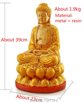 Big size Rulai fo Opening light Buddha Golden color ornament Buddhism figurine Shakya Muni Sculpture Amitabha statue Tathagata