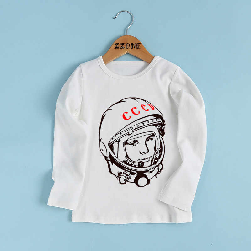 590482509dc ... Boys and Girls CCCP USSR Gagarin Print Funny T shirt Kids The Soviet  Union Russia Space ...