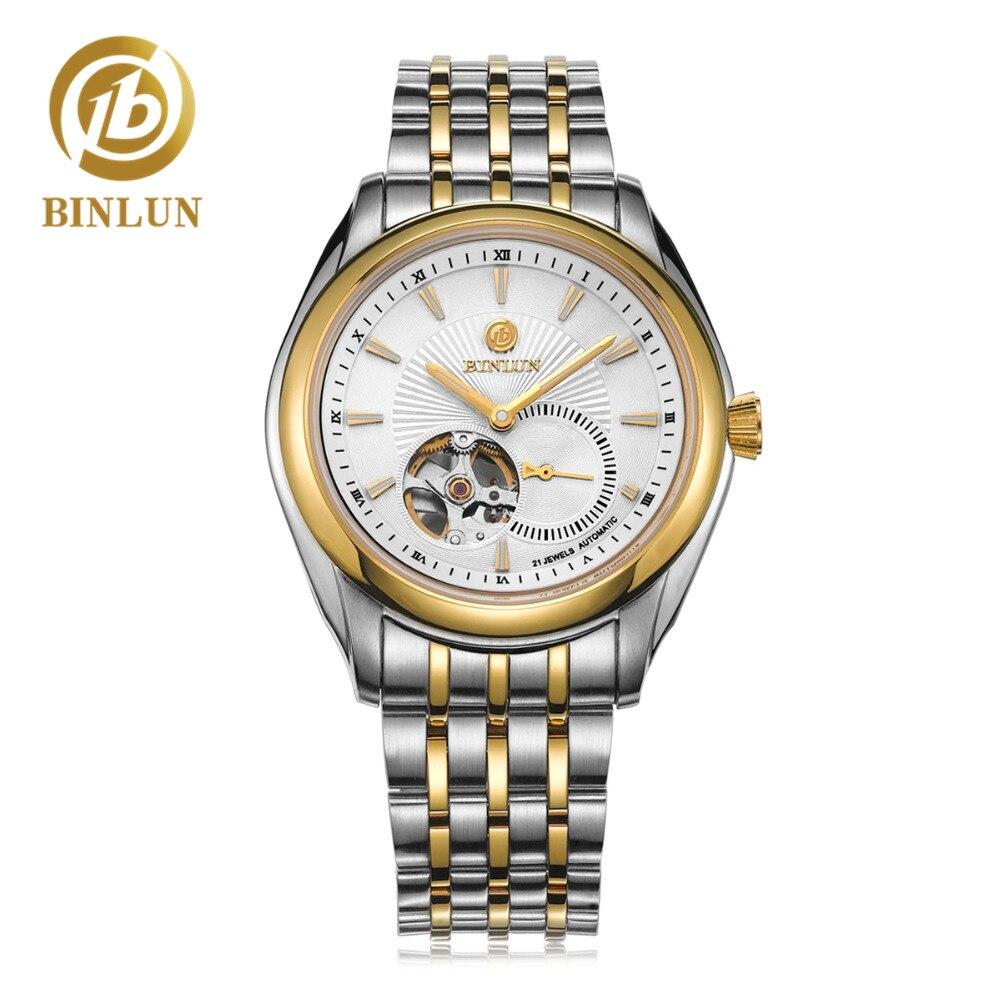 dcf110019aa BINLUN Luxury Skeleton Dial Men s Automatic Watch Gold Case Top Business Men  Mechanical Wristwatch Waterproof 18K