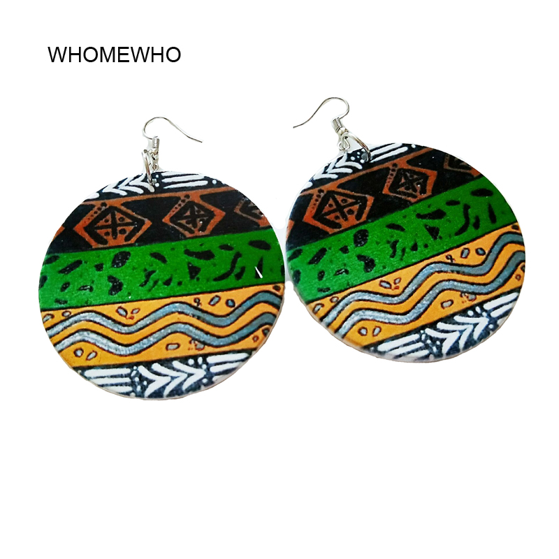 Wood Round Africa Tribal Symbol Totem Bohemia Earrings Retro Wooden African Hiphop Wave Stripes Jewelry Party