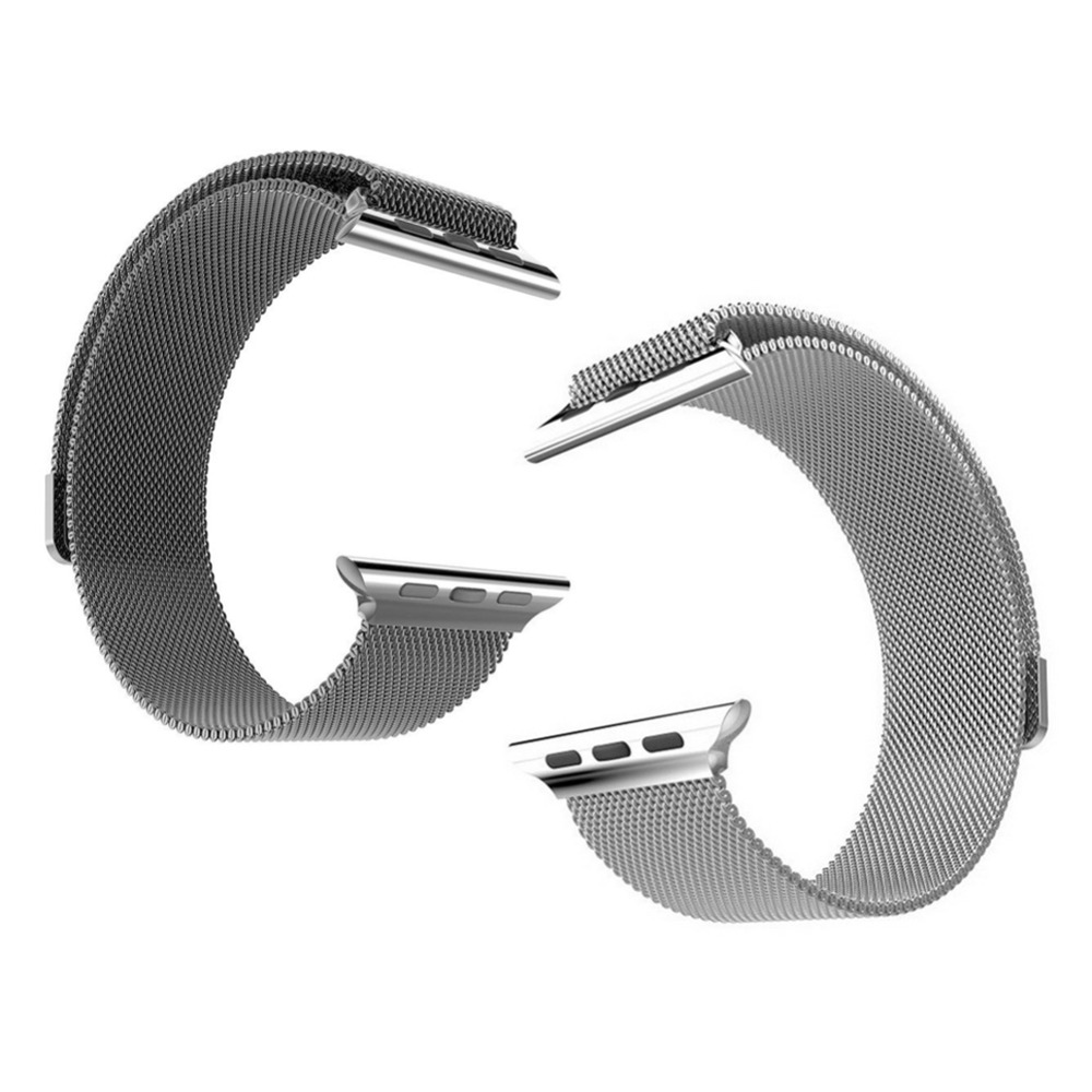 Siver Black Stainless Steel Bracelet Watch Strap Magnetic Band for Apple 42MM