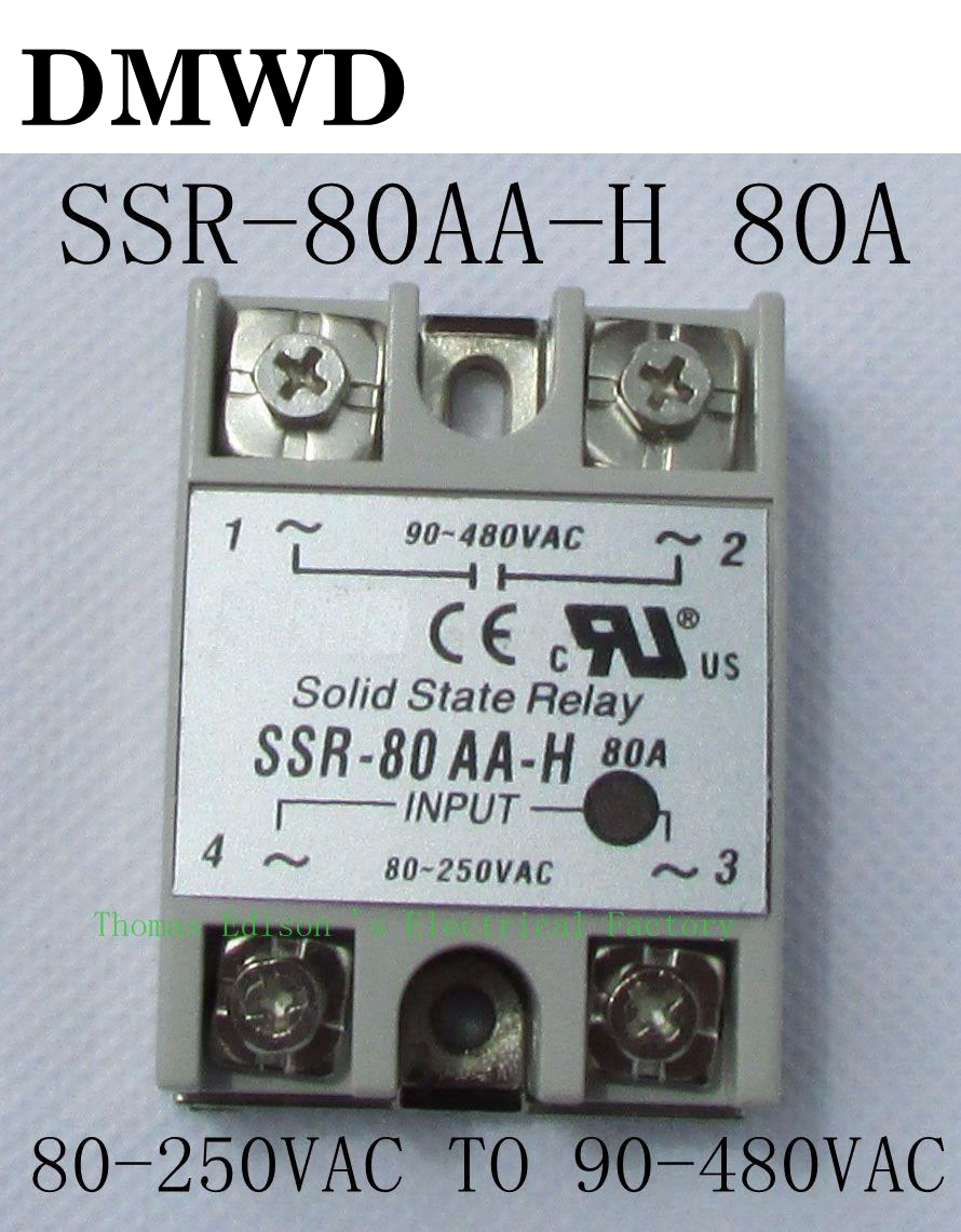 1pcs solid state relay SSR-80AA-H 80A SSR 80AA H AC TO AC relay solid state Resistance Regulator new and original sa34080d sa3 4080d gold solid state relay ssr 480vac 80a