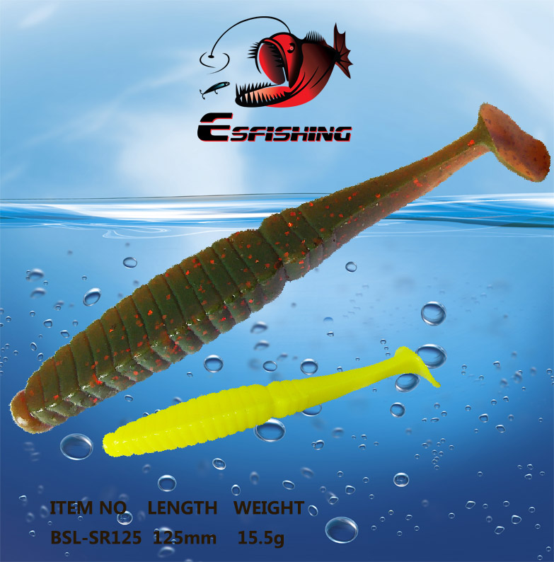 Fishing Lure Soft Tail Shine 4pcs 12.5cm/15.5g Esfishing Worm Stagger 5 Swimbait Bass Cr ...