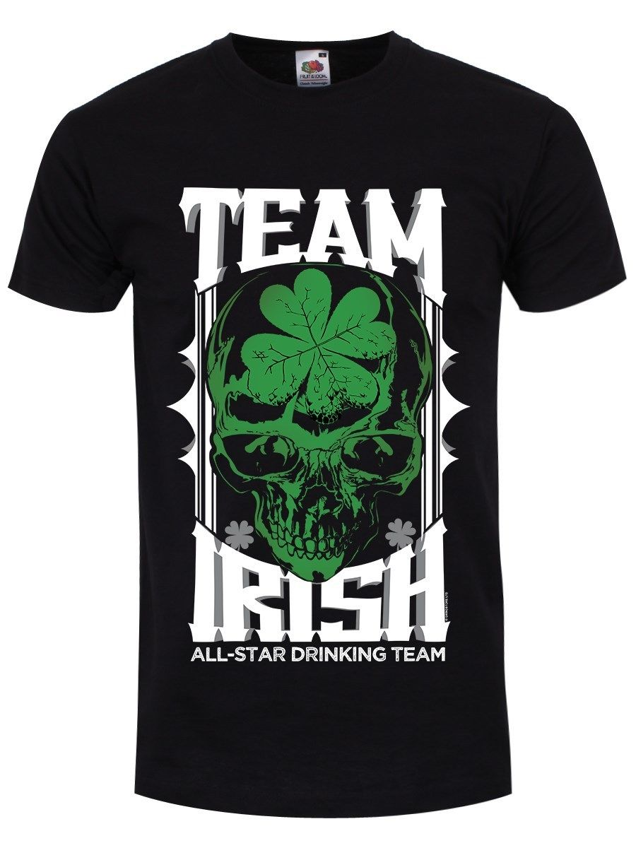 Team Irish Men's Black T-shirt  Printed T Shirt Summer Men'S Top Tee  2018 Fashion 100% Cotton Slim Fit Top Shirt