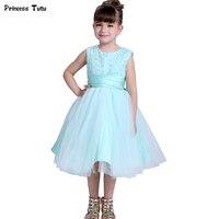Бирюзовый зеленый Обувь для девочек Свадебное платье с цветочным узором для девочек принцесса праздничное платье торжественное платье Дет...