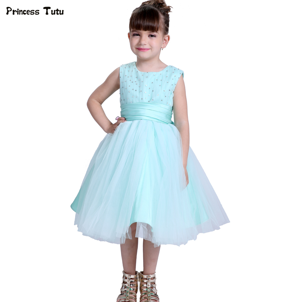 Turquoise Green Girls Wedding Flower Girl Dress Princess Party Pageant Formal Dress Children Tulle Ball Gown Dress Kids Vestidos 2017 kids girls wedding flower girl dress princess party pageant formal dress crossed back sleeveless lace tulle dress 2 14y