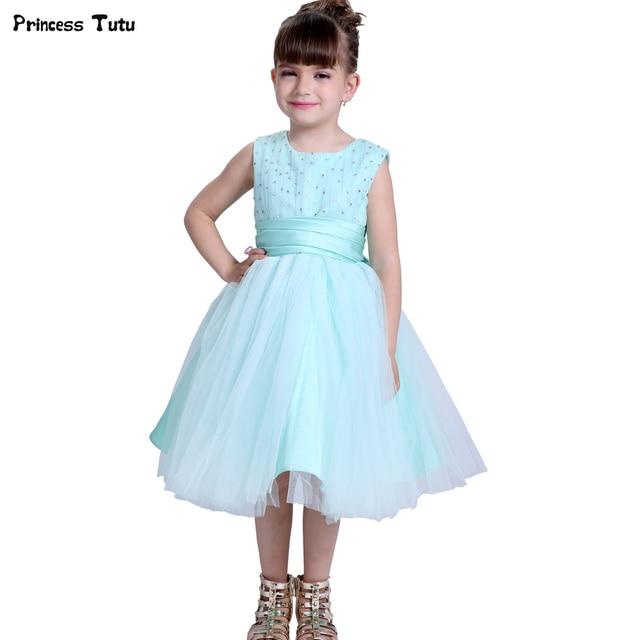Turquoise Green Girls Wedding Flower Girl Dress Princess Party Pageant  Formal Dress Children Tulle Ball Gown Dress Kids Vestidos ff83764a9372