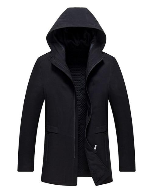 Long Hooded Trench Coat Men...
