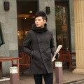 Directo de fábrica de la moda de estilo británico de invierno de marca de alta calidad classic mens duffle cremallera solo tapa de la cachemira de lana trinchera abrigo