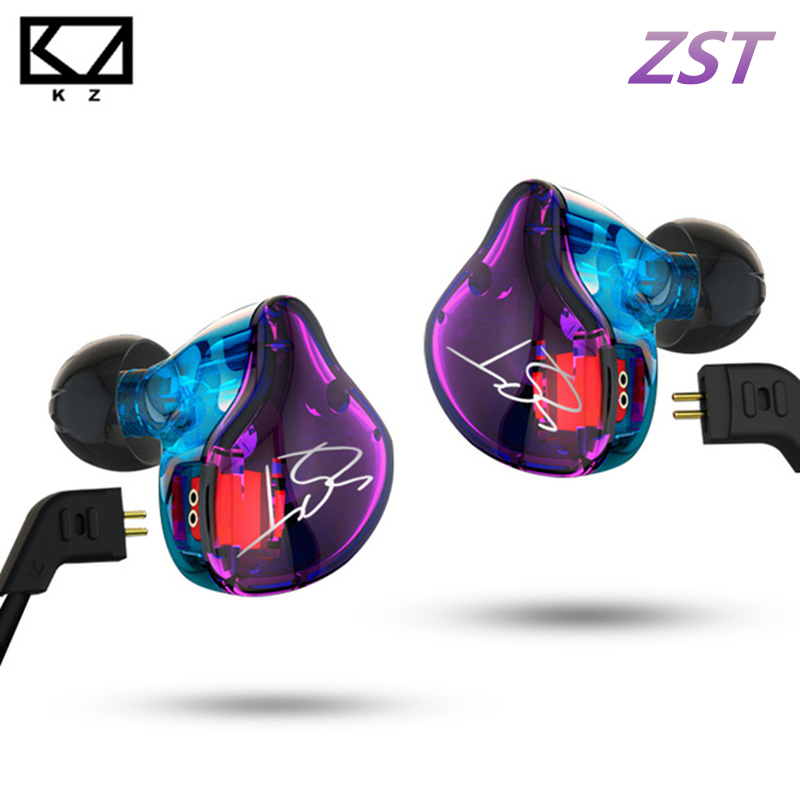 KZ ZST Pro Armature Dual Driver Earphone Detachable Cable In Ear Audio Monitors Noise Isolating HiFi Music Sports Earbuds kz ed12 custom style earphone detachable cable in ear audio monitors noise isolating hifi music sports earbuds with microphone