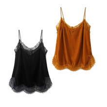 Hot Sale 2017 Summer Sexy Vintage Lace Velvet Top Tees Women Camis