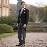 Italian Stylish Black Tailcoat Men's Blazer Wedding Suits For Men Groomsmen Suits 3 Pieces Peaked Lapel Groom Party Men Suits