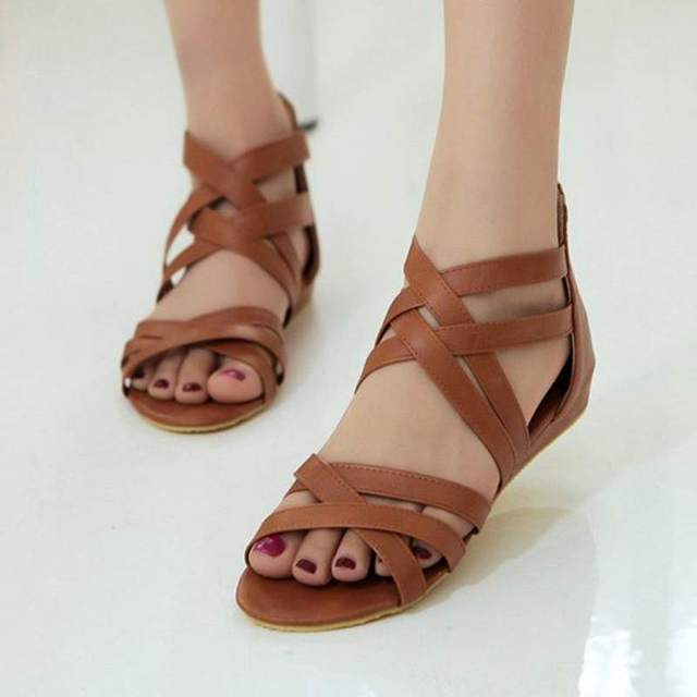 Flat gladiator Sandals Women bohemia casual shoes flat sandals shoes for women straps Zip Factory sales Big size 40 41 42 43