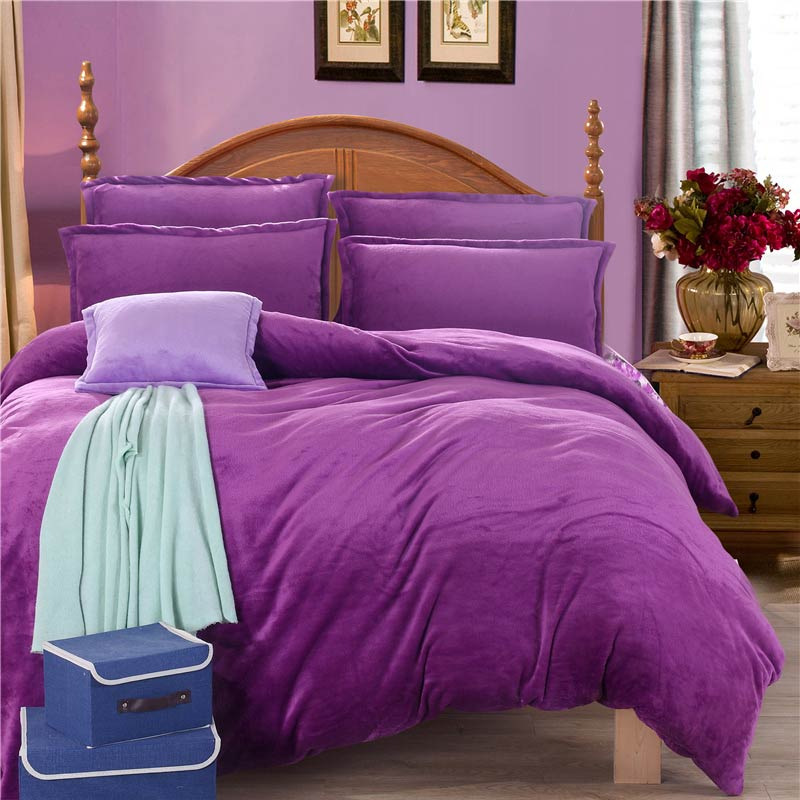 Thick Winter Warm Flannel 4pcs Solid Printed Bedding Set