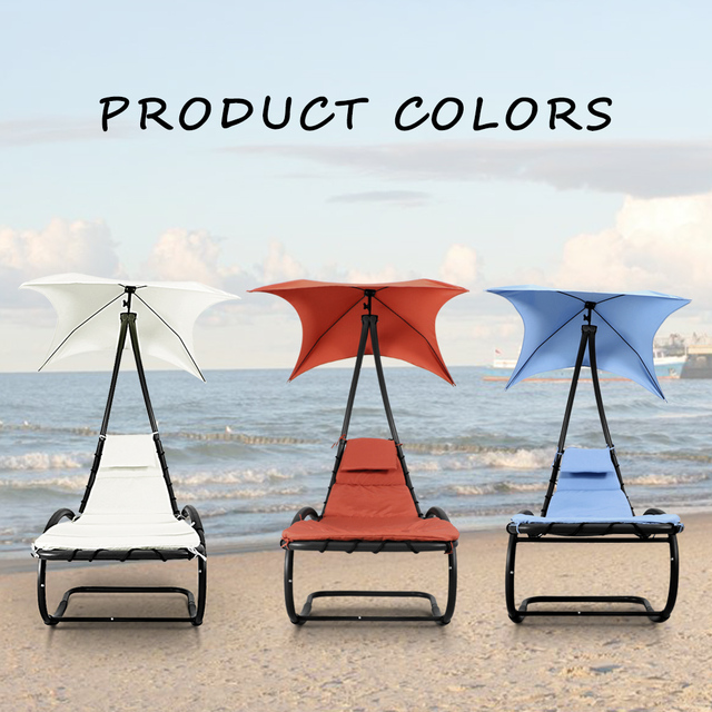 IKayaa US Stock Rocking Outdoor Patio Chaise Lounge Chair Canopy Garden  Porch Pool Chaise Rocker Garden
