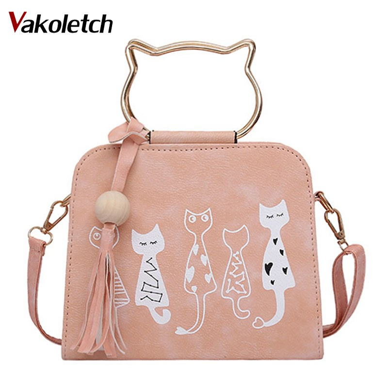 2018 Fashion Women PU Leather Messenger Bag Handbags Cute Cartoon Cats Printed Shoulder Bags Small Crossbody Bags for Women K96 striped travelling carrying bag for cats small