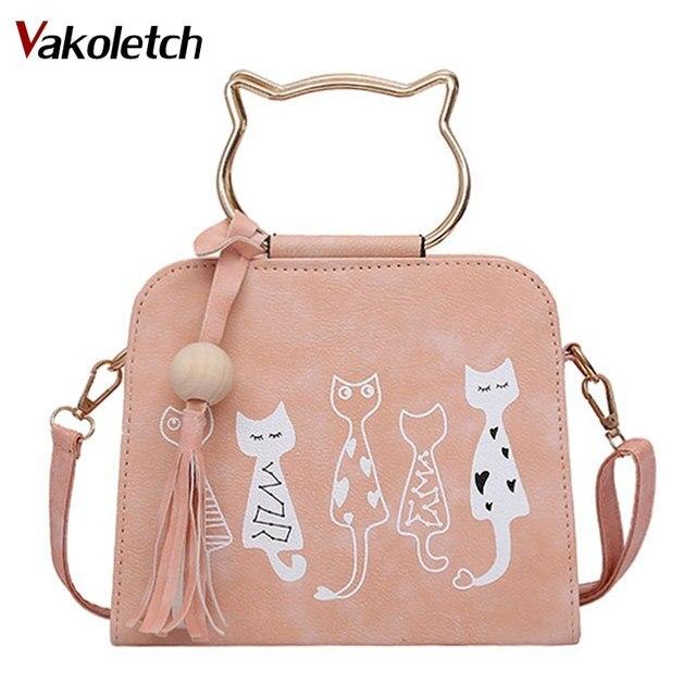 d4ed56976 2019 Fashion Women PU Leather Messenger Bag Handbags Cute Cartoon Cats  Printed Shoulder Bags Small Crossbody Bags for Women K96