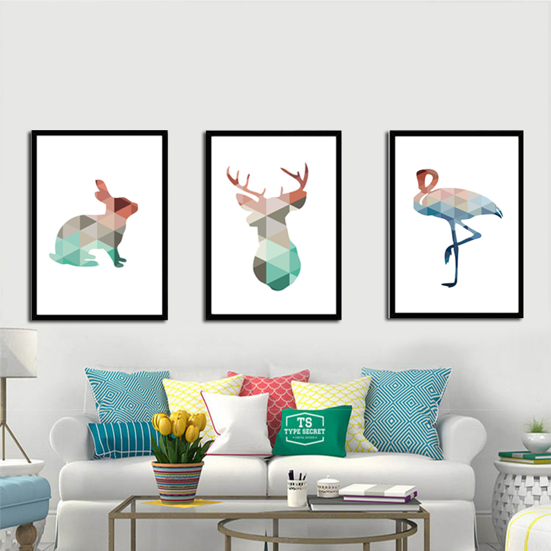 Geometric Deer Swan Rabbit Canvas Painting Colorful Animals A4 No Framed Art Print Poster Wall Picture For Living Room Kids Room