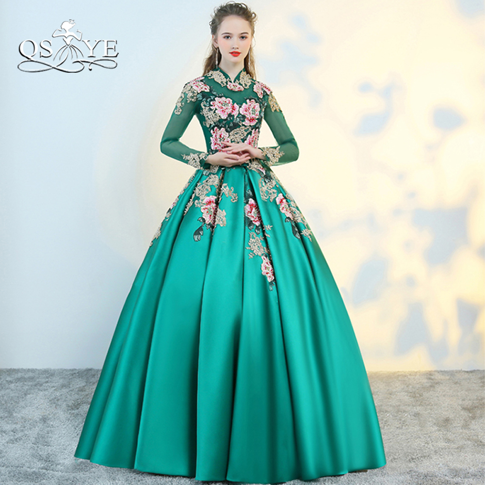 QSYYE 2018 New Long   Prom     Dresses   Robe de Soiree Long Sleeve Gold Lace 3D Flower Floor Length Satin Evening   Dress   Party Gown