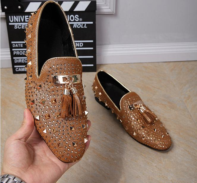 luxury brand design casual shoes mens loafers genuine leather slip on men shoes fashion tassel rivets party shoes men big yards branded men s penny loafes casual men s full grain leather emboss crocodile boat shoes slip on breathable moccasin driving shoes