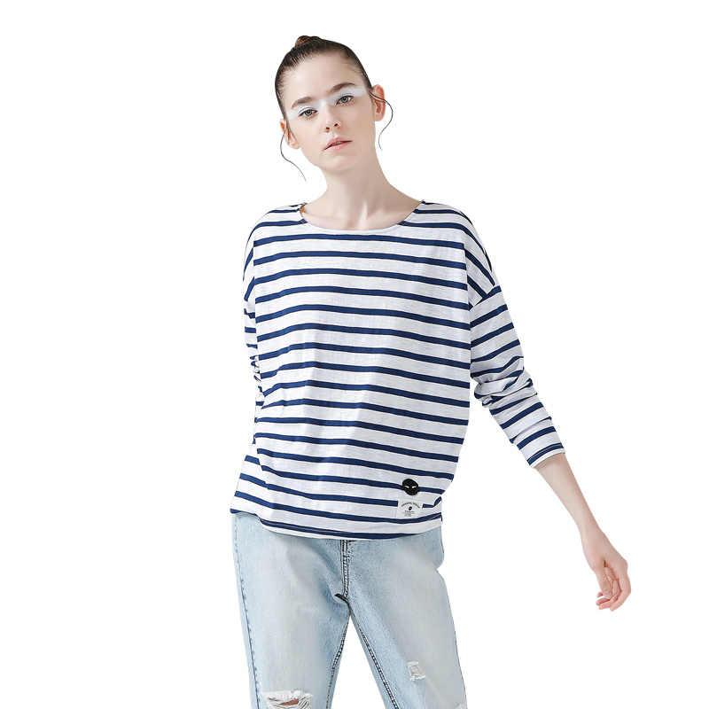 Toyouth חולצות 2017 אביב נשים חולצה פס מודפס Loose בסיס מזדמן ארוך שרוול O-צוואר Tees חולצות