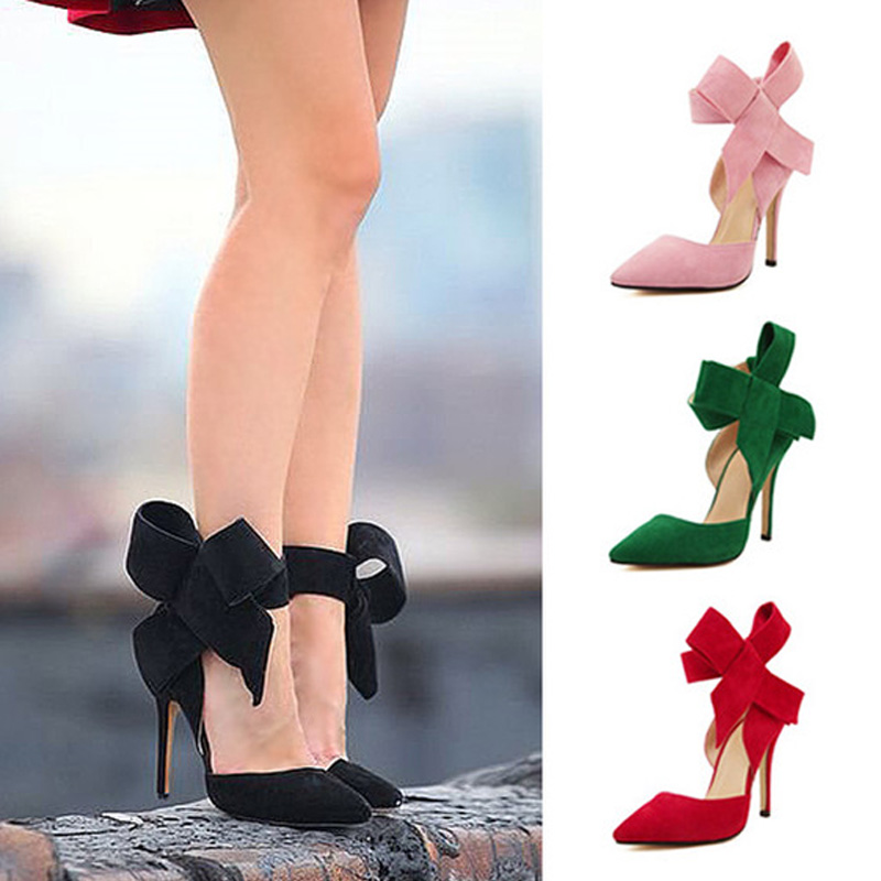 Pointe Shoes Stiletto Women Pumps High-Heels Woman Plus-Size Fashion Big Footwear Bow-Tie