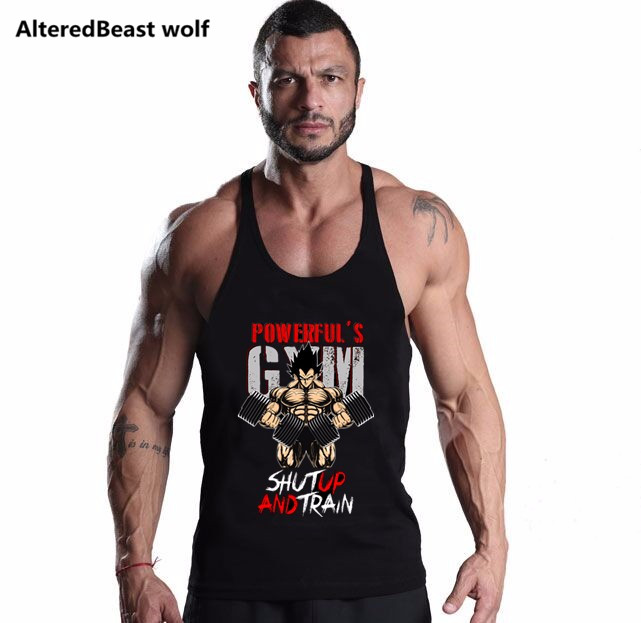 Men dragon ball Tank Tops Goku Vegeta Saiyan print Bodybuilding shirt Men Tops Fitness cotton Singlets gold gyms mens clothing