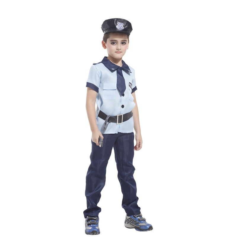 MOONIGHT 4 Pcs Policeman Kids Halloween Police Carnival For Kids Cosplay Party Costumes Boys