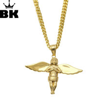 Fashion Gold Color Long Wing Angel Pendant Necklaces Titanium Steel Unisex For Men Women Hip Hop Jewelry Christmas Gifts(China)