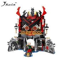 [Jkela] Tempel van Megtekinthető Bouwstenen Ninja Collectio Legoings Ninjagoing Temple blokk készlet Master Wu Kids Building Tégla Játék