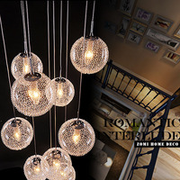 Direct Selling Pendant Lamps Round Large Long Stair E14 Round Ball Chandelier 10 Lights lustres de teto Glass