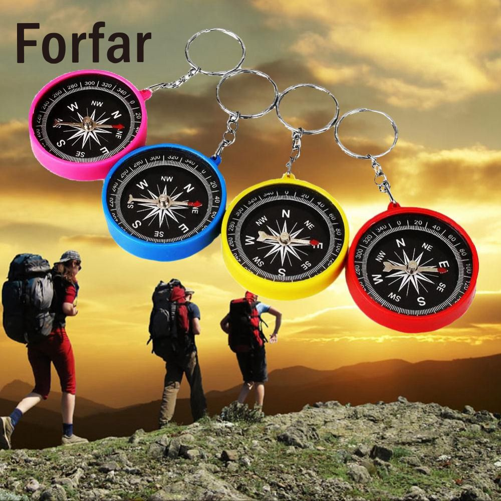 Forfar Mini Compass Keyring Lens For Marine Outdoor Pocket Sports Camping Hiking Travel Navigation Multifunctional Plastic