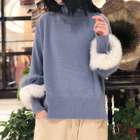 Fox Fur Sleeve Women Turtleneck Sweater Wool Knitwear Women's 2018 Autumn New High Quality Female Pullovers Christmas Sweater
