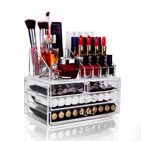 Makeup Organizer Plastic Acrylic Storage Box Multiple Drawer For Brush Lipstick Cosmetic Organizer Box