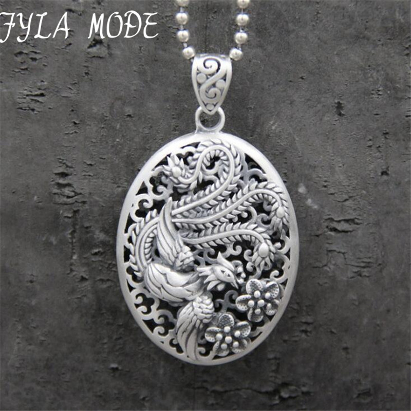 Pure S999 Sterling Silver Pendant Unique Fashion Exquisite Oval Hollow <font><b>Phoenix</b></font> Pendant Fine Jewelry Gift 16g 32*46MM TYC244