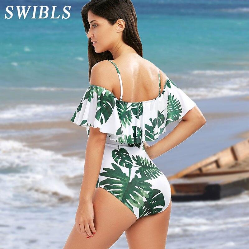 Traje de baño de talla grande para mujer 2018 traje de baño Floral de una pieza para mujer traje de baño de playa de hoja grande para mujer