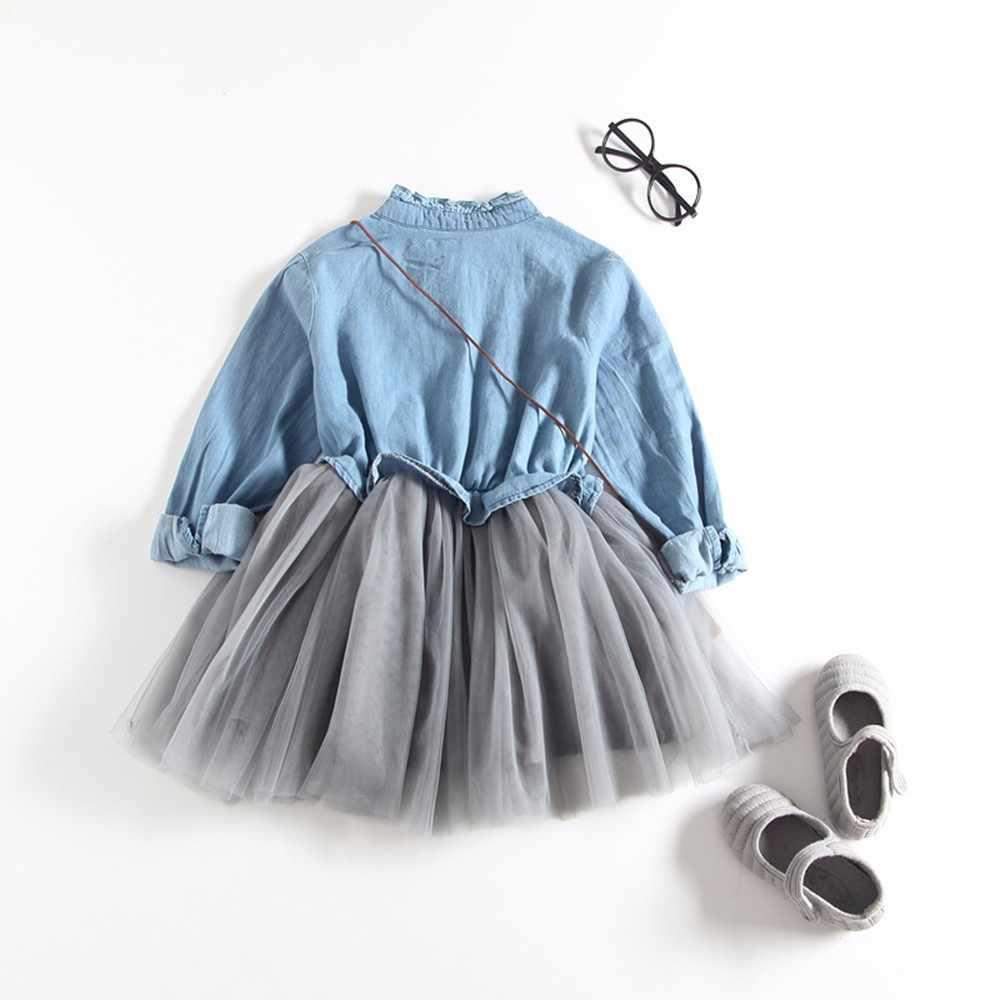 e72679d17b334 ... Best sale Toddler Baby Girls dress Denim mini Dresses Long Sleeve  Princess Tutu party Dress Cowboy