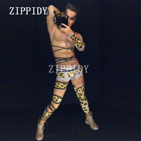 Sexy Printed Leopard Men Jumpsuit Skinny Stretch Muscle Rompers Costume Singer Dancer Performance Outfit Nightclub Occasion Wear