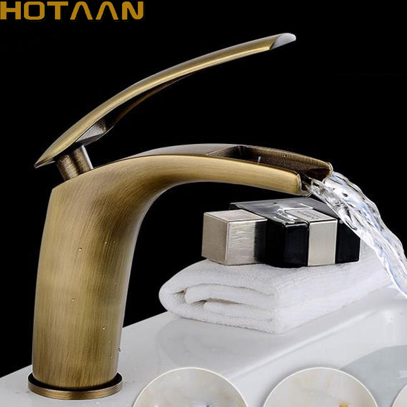 Free shipping Basin Faucet Antique Brass waterfall Bathroom Basin Sink Mixer Tap Crane,torneira YT-5008 free shipping kitchen faucet torneira wall mounted antique brass swivel bathroom basin sink mixer tap crane yt 6035