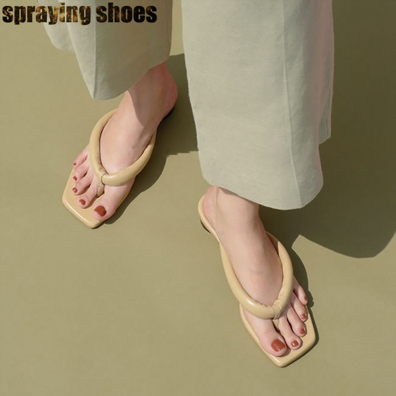 Trendy Women Square Toe Flat Sandals Genuine Leather Summer Slippers Sexy Ladies Flip Flops Beach Sandals Woman 2019
