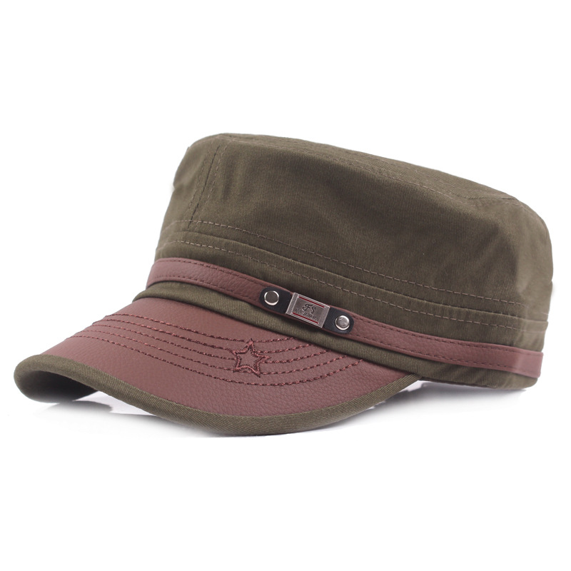 SILOQIN Adult Men 39 s Simple Fashion Flat Top Cap Classic Trend Vintage Military Hats Resizable Snapback Male Bone Retro Dad 39 s Hat in Men 39 s Military Hats from Apparel Accessories