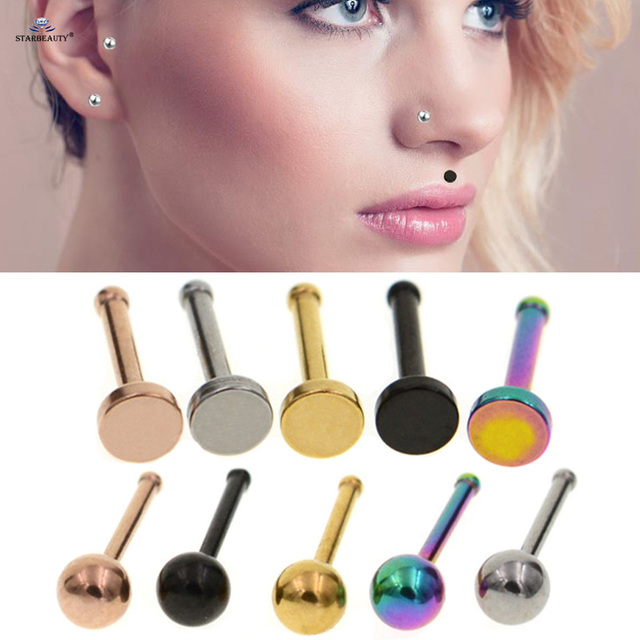 Starbeauty 2pcs/lot 18G 7mm Cute Nose Piercing Labret Helix Earring Lip Piercing Tragus Flat Nose Ring Cartilage Pircing Jewelry