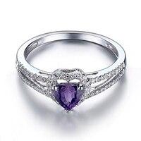 Твердые 10 К белого золота 0.5ct фиолетовый безупречной подлинной аметист кольцо для Для женщин Обручение свадебный подарок вечерние Мода Fine