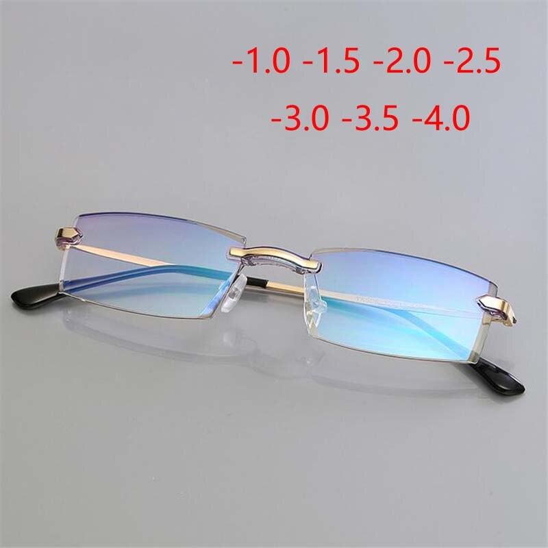 18a4ff4013 Revestimiento de alta calidad gafas de miopía terminadas sin marco Anti-Luz  Azul prescripción de gafas-1-1,5- 2-2,5-3-3,5-4,0