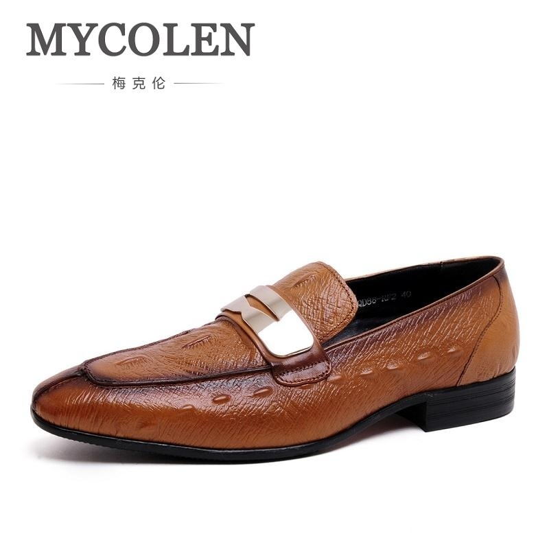 MYCOLEN Loafers Italian Fashion Pointed Toe Wedding Dress Shoes Men Genuine Leather Business Flats Chaussures En Cuir Hommes hot sale italian style men s flats shoes luxury brand business dress crocodile embossed genuine leather wedding oxford shoes