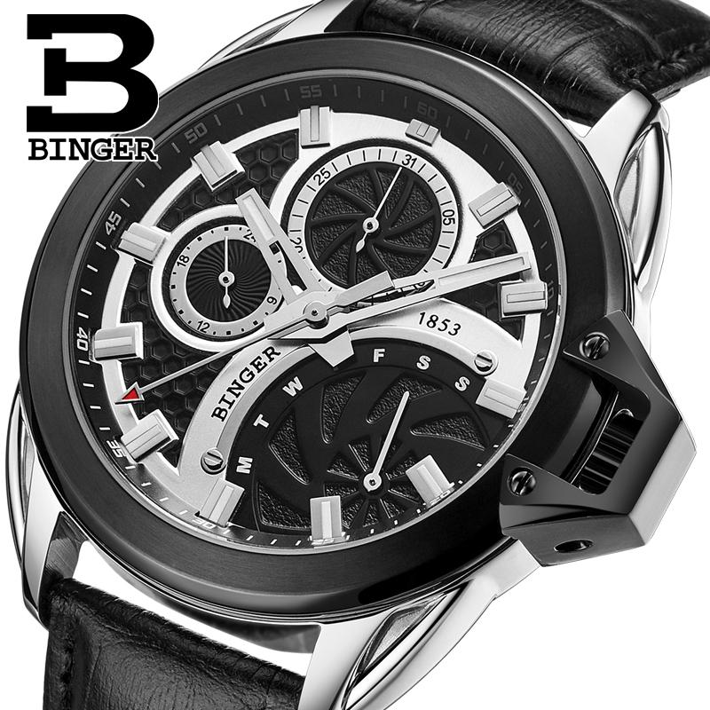 Switzerland watches men luxury brand Wristwatches BINGER Quartz men's watch leather strap Chronograph Diver glowwatch B6012-5 switzerland binger men s watches luxury brand quartz waterproof leather strap clock chronograph stop watch wristwatches b9202 8