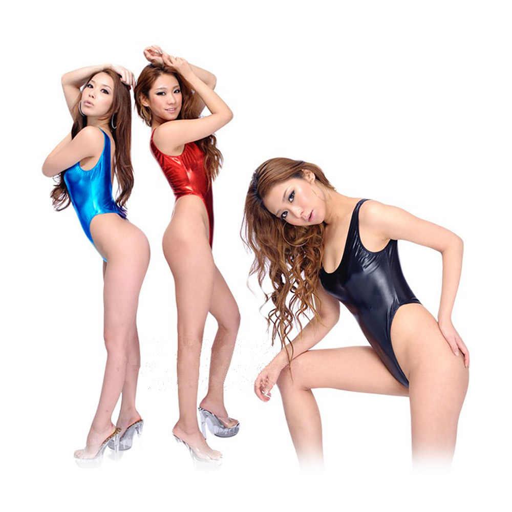 Moda seksowna bielizna kobiety bez rękawów błyszczący strój kąpielowy ze skóry lakierowanej stringi body strój kąpielowy kombinezony klub nocny