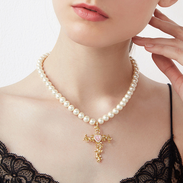 The british aristocracy cross pendant pearl necklace in choker the british aristocracy cross pendant pearl necklace aloadofball Images
