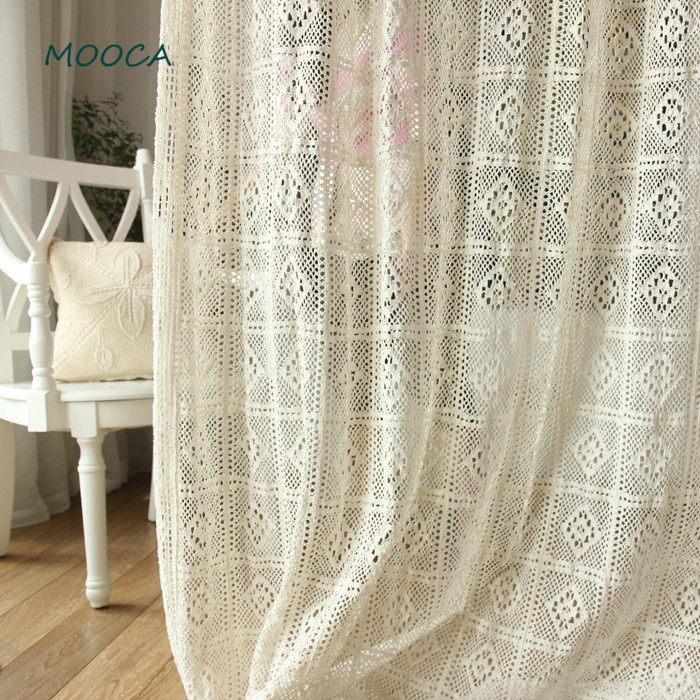 100 cotton Greece vintage crochet curtain for living room